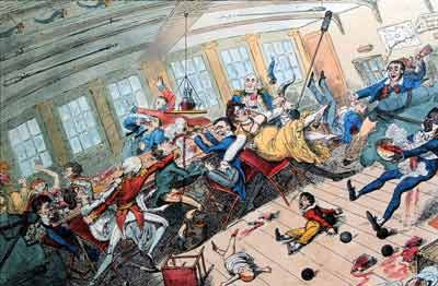 colour illustration showing people and dining equipment lurching around on board a ship