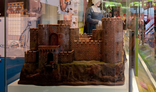 castle model in museum display