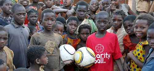 African children holding two footballs