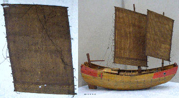 Main sail before treatment and junk after conservation