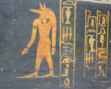 coffin painted with hieroglyphs