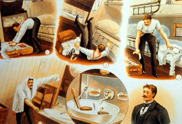funny illustrations of a man falling over as he puts on his formal dinner suit