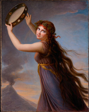 painting of a woman holding a tambourine