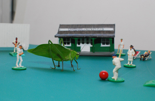 A cricket insect surrounded by little human cricket figures