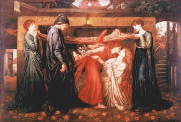 Picture of a painting showuing an angel leading Dante to his dying lover Isabelle