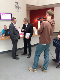 Picture of David and Simon being filmed for The One Show