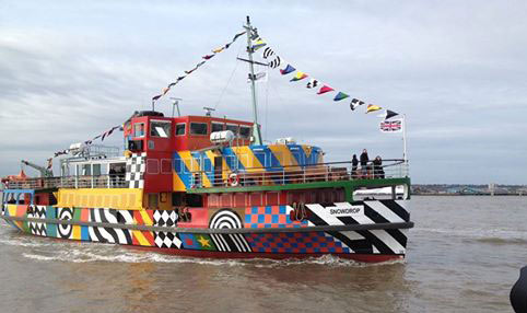 ferry decorated with colourful geometric patterns
