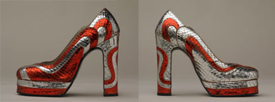 Platform shoes with swirling metallic red and silver pattern