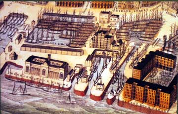 old print showing many ships in the docks