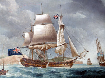 painting of a large sailing ship