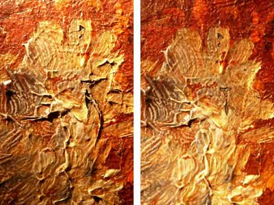 A composite image showing two versions of the same painted area. The one on the left is dirtier and hs much more flaking paint