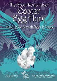 Easter hunt poster of a bird holding a diamond egg.