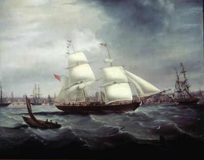 oil painting of a ship at sea, with a port in the background and a rowing boat in the foreground