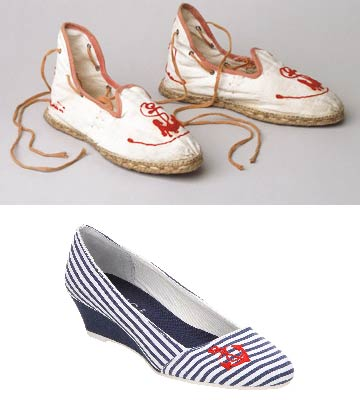 Striped summer shoes