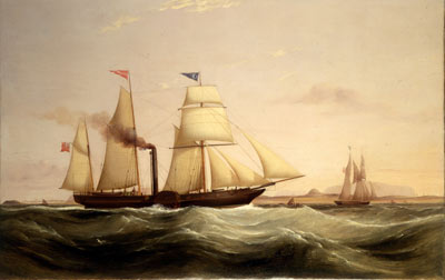 Oil painting of a sailing ship