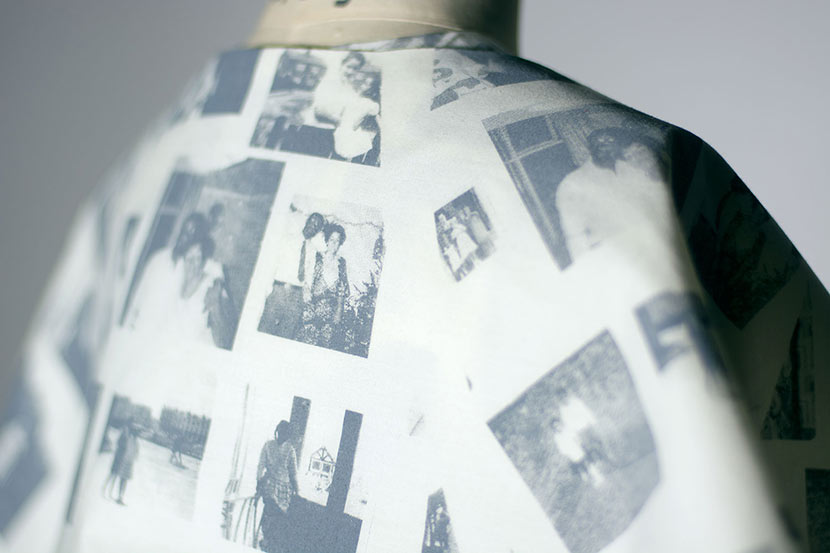 Dress with family photographs printed on the fabric