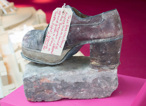 Shoe discovered inside a wall during building works at the Everyman Theatre