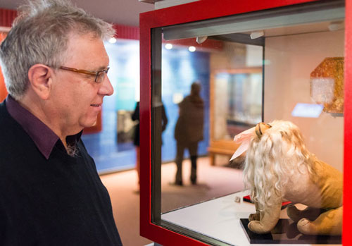 man looking at toy lion in museum display case