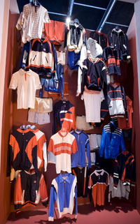 A collection of Fila clothes on display