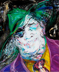 expressive portrait painting of a man in colourful clothes