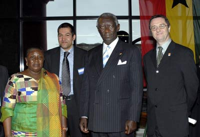 Ghanian president and his wife with museum staff