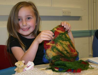 Girl with the felt she made