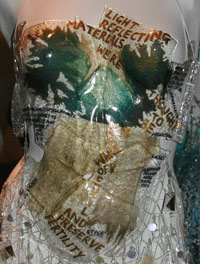 Detail of a dress made of glass