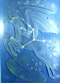 A blue sheet of glass with a horse outline