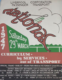 Poster advertising public transport to the Grand National in 1947