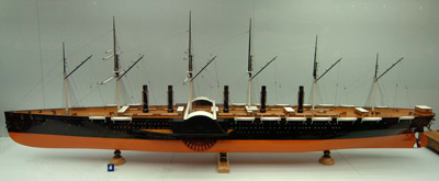 colour image of a large ship model