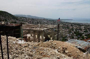hilltop view of devastion caused by Haiti earthquake, ruined buildingd everywhere