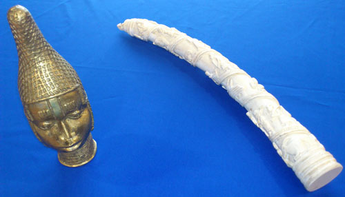replica sculpture and carved tusk