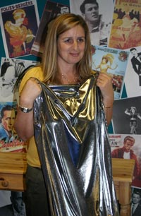 Karen Charnock with a silver dress