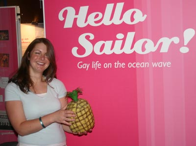 lady with pineapple ice bucket in Hello Sailor exhibition