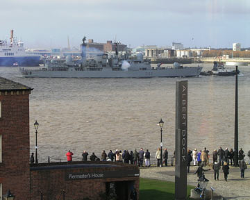 Photograph of ship HMS Liverpool in Mersey