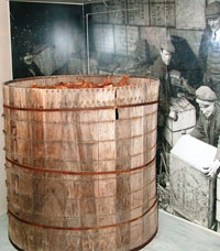 A large barrel in a museum
