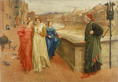 painting of a man being ignored by a woman walking with her friends