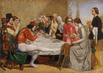 A painting of people gathered around a dining table