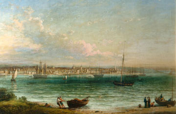 painting of sailing ships in the Mersey with Liverpool in the background