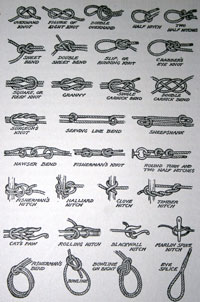 diagram showing lots of different types of knots