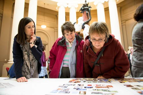 Visitors take a look at plans for the gallery.