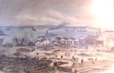 illustration of a busy port scene