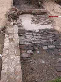 excavated area of brick floor