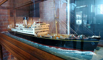 model ship on choppy sea