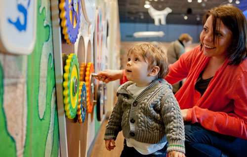 mother and toddler playing with activities in the Little Liverpool gallery
