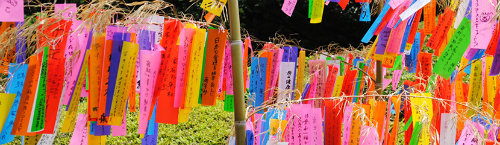 Colourful paper strips with wishes on them - part of the Tanabatta festival