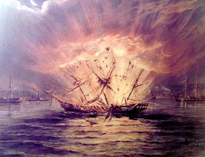 an oil painting showing a large wooden ship exploding