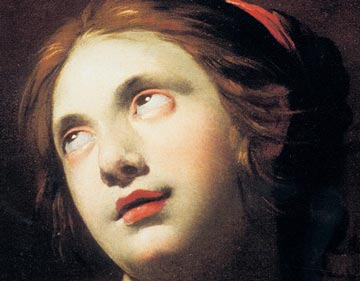Detail of a portrait of a pale woman with red lips looking upwards