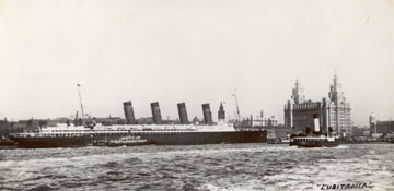 At=rchivbe photo of the Lusitania at the Liverpool landing stage