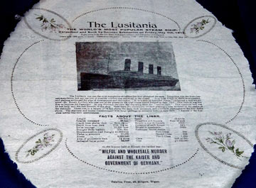 napkin with image of a ship and text